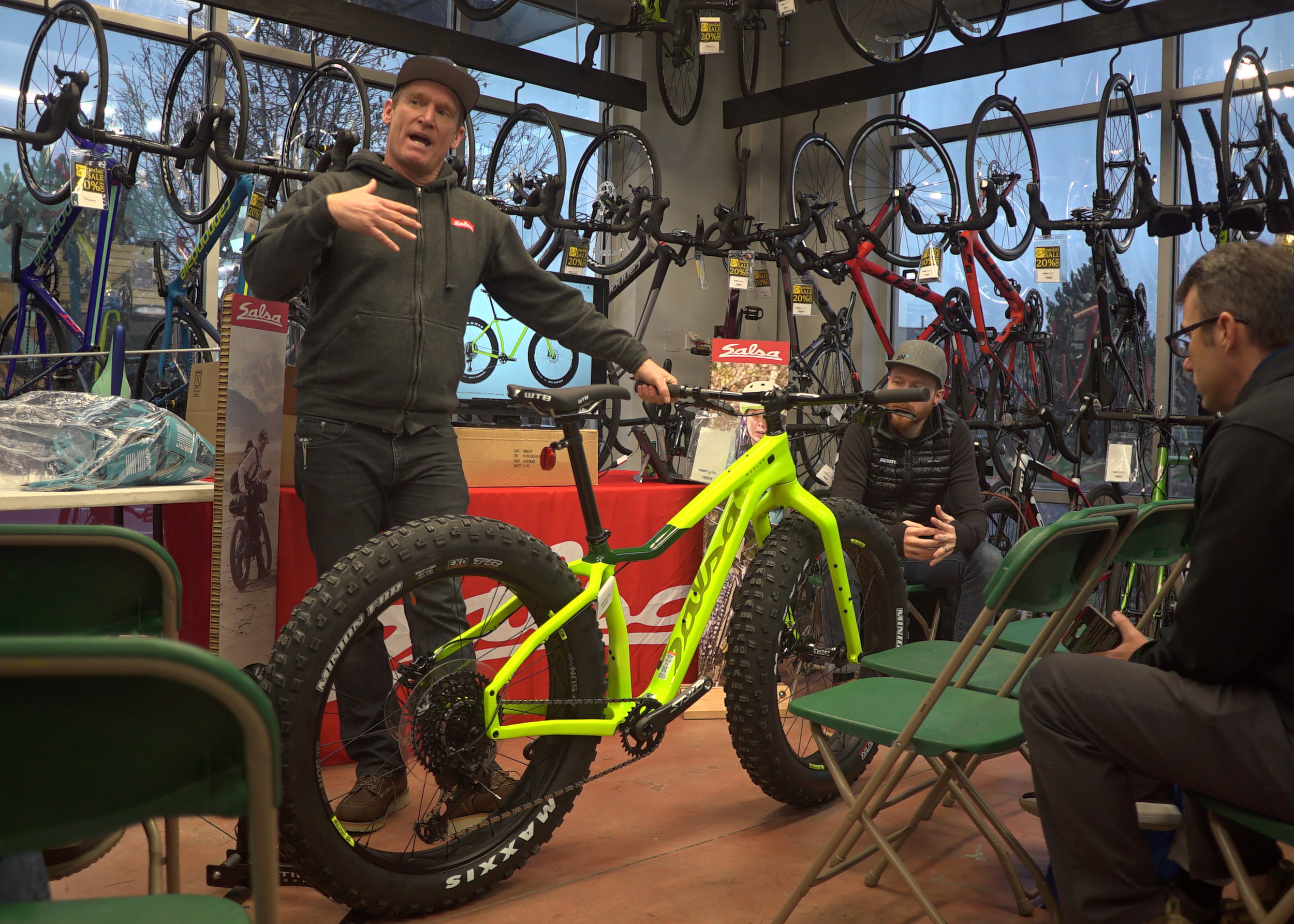Neil, from Salsa Cycles, tells the crowd about the new features unique to the 4th generation of the Mukluk.