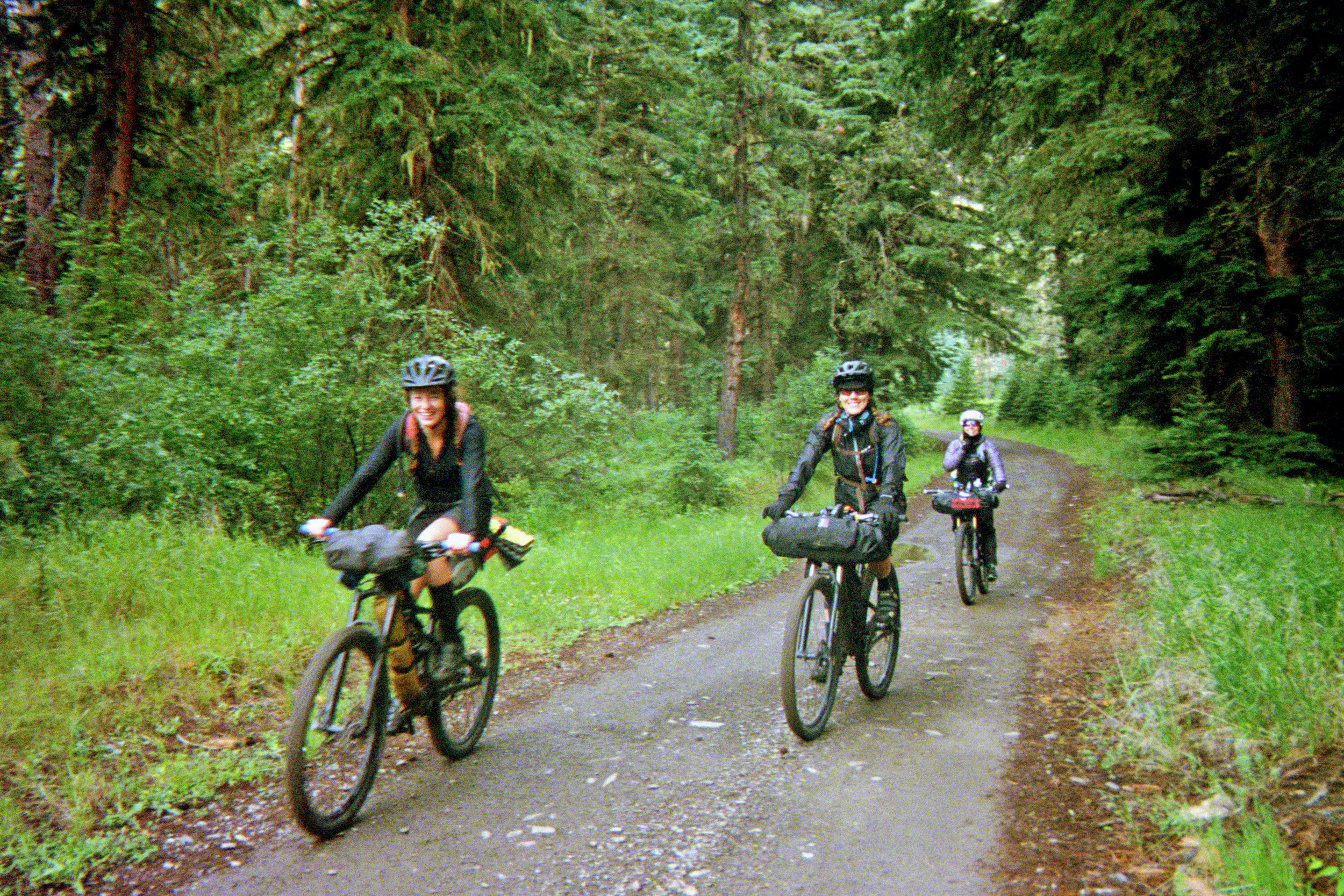 Michelle, Kristi and Heather (left to right) starting out the day on some tacky, sometimes muddy, Mikelson trail.