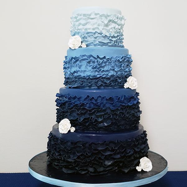 Blue-gradient Frilly Wedding Cake