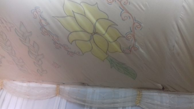 Inside of a refugee tent, Photo taken in Ceylanpınar by the author on 23 July 2018.