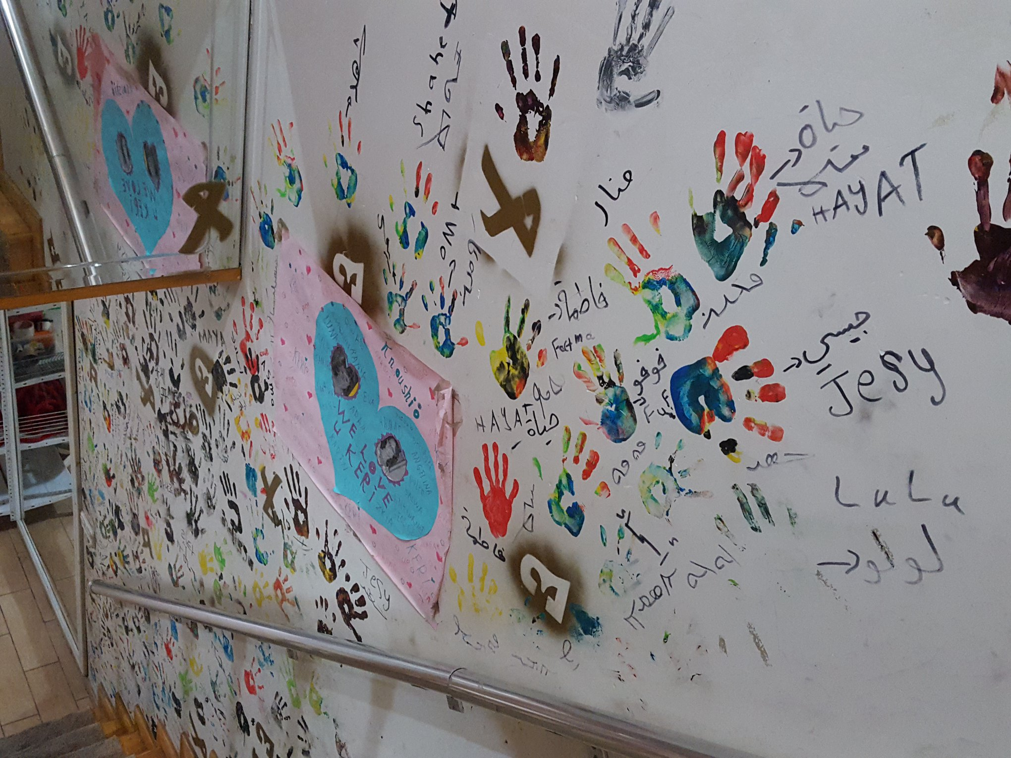 Children leave traces, their colourful hands reminds us rainbow and hope…