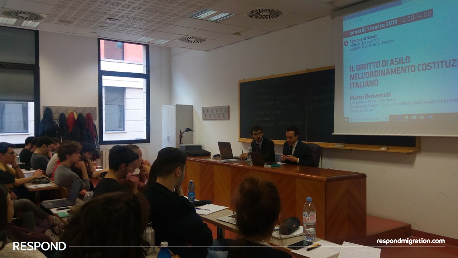 Prof. Benvenuti  illustratining the Italian constitutional grounding of the right to asylum in his lecture at the  University of Florence , on the 1st March 2019