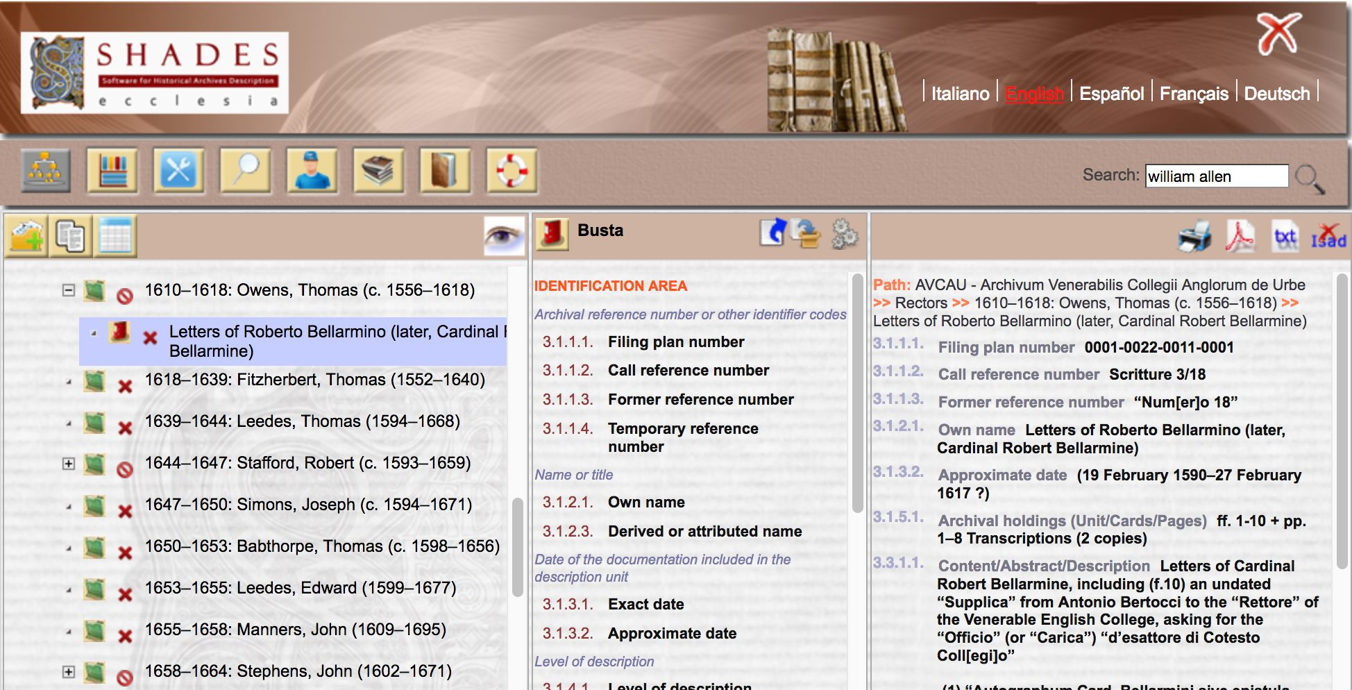 A screen-shot of a digital library catalogue at the VEC Archives