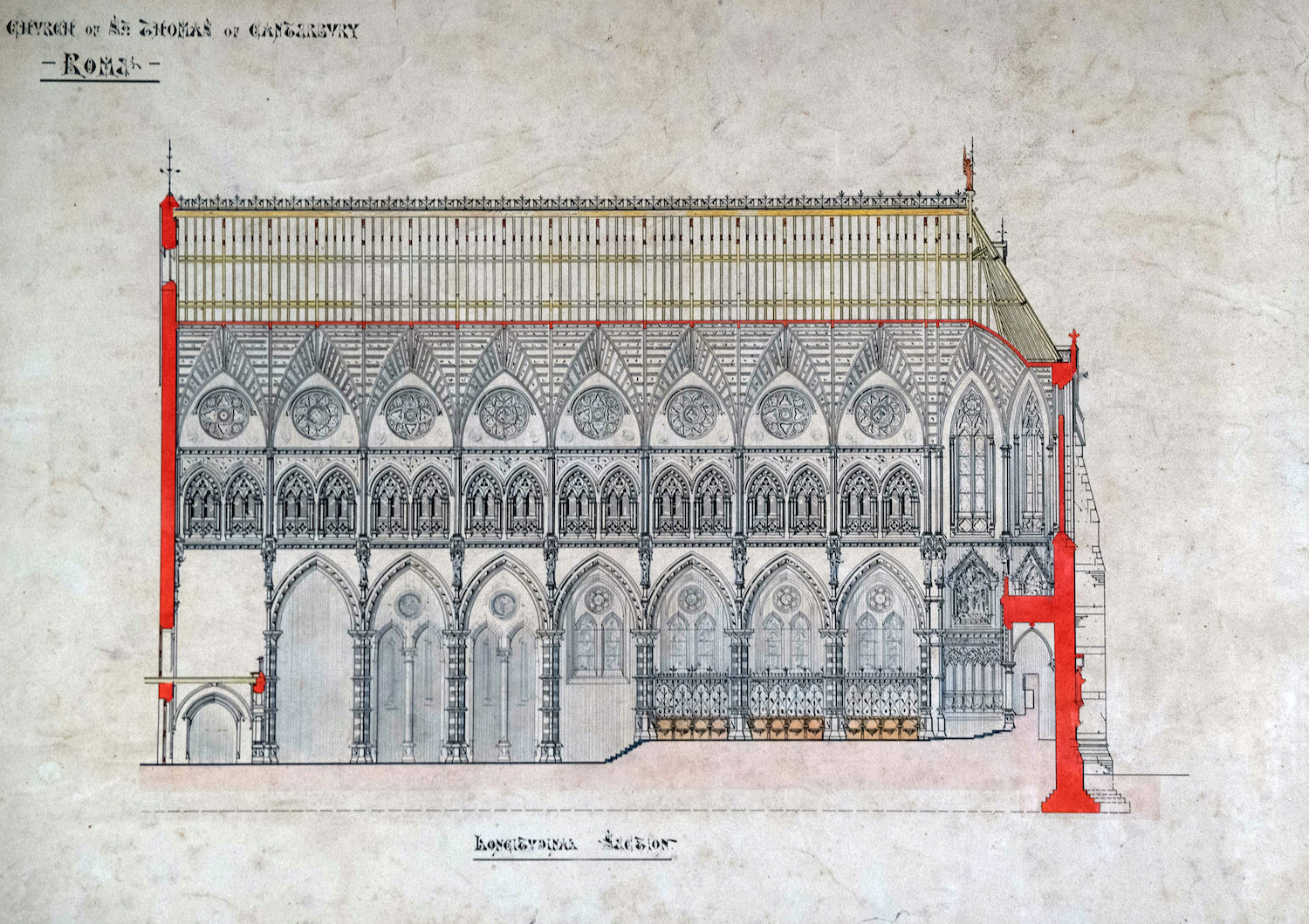 Unexecuted designs by Edward Welby Pugin for the new Church of St Thomas of Canterbury, Rome, 1868.