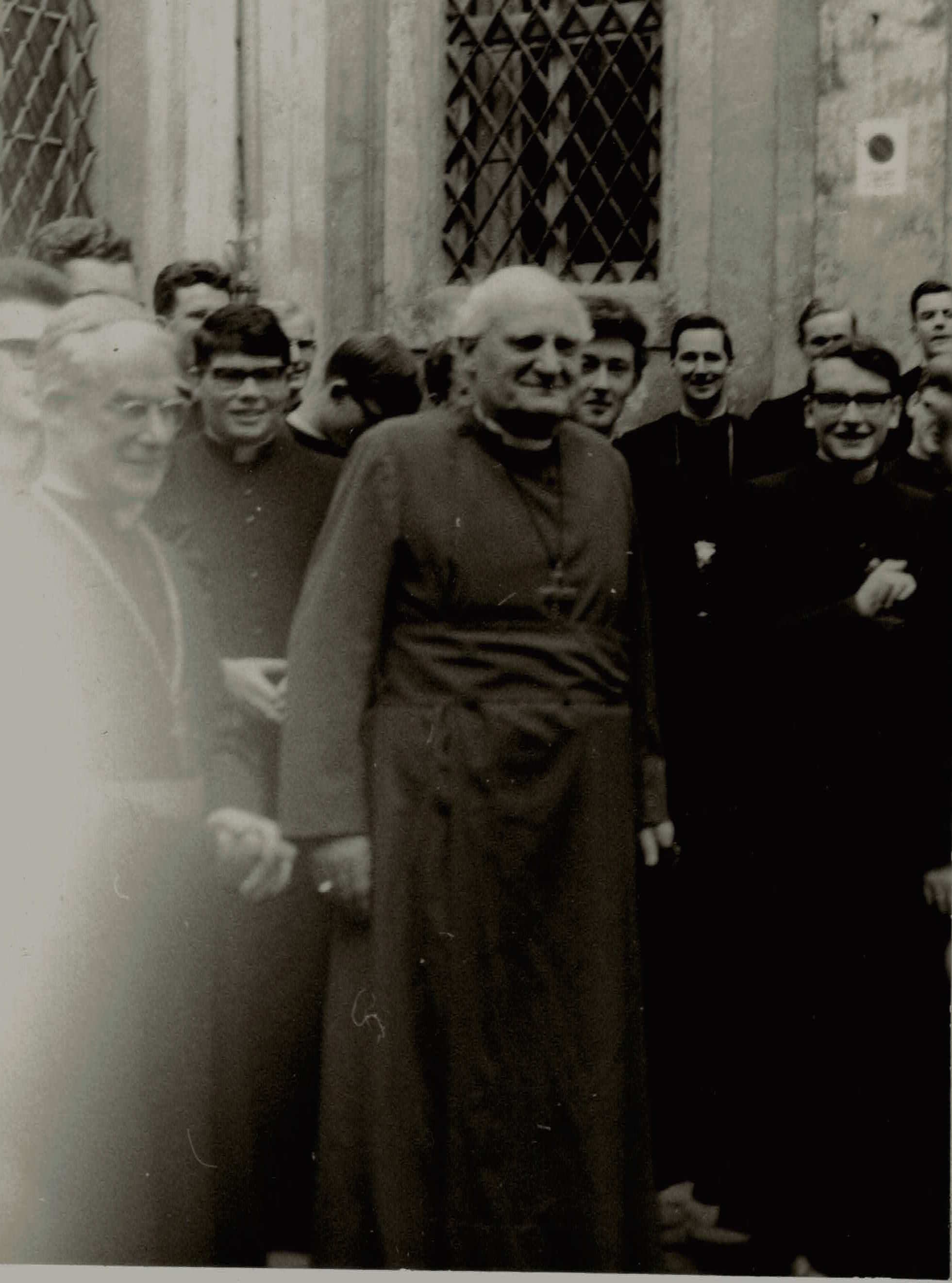 Archbishop Michael Ramsey arriving at the Venerable English College, 22 March 1966, escorted by Bishop Thomas Holland, of Salford.   Archivum Venerabilis Collegii Anglorum de Urbe (AVCAU),  Scritture  87/14