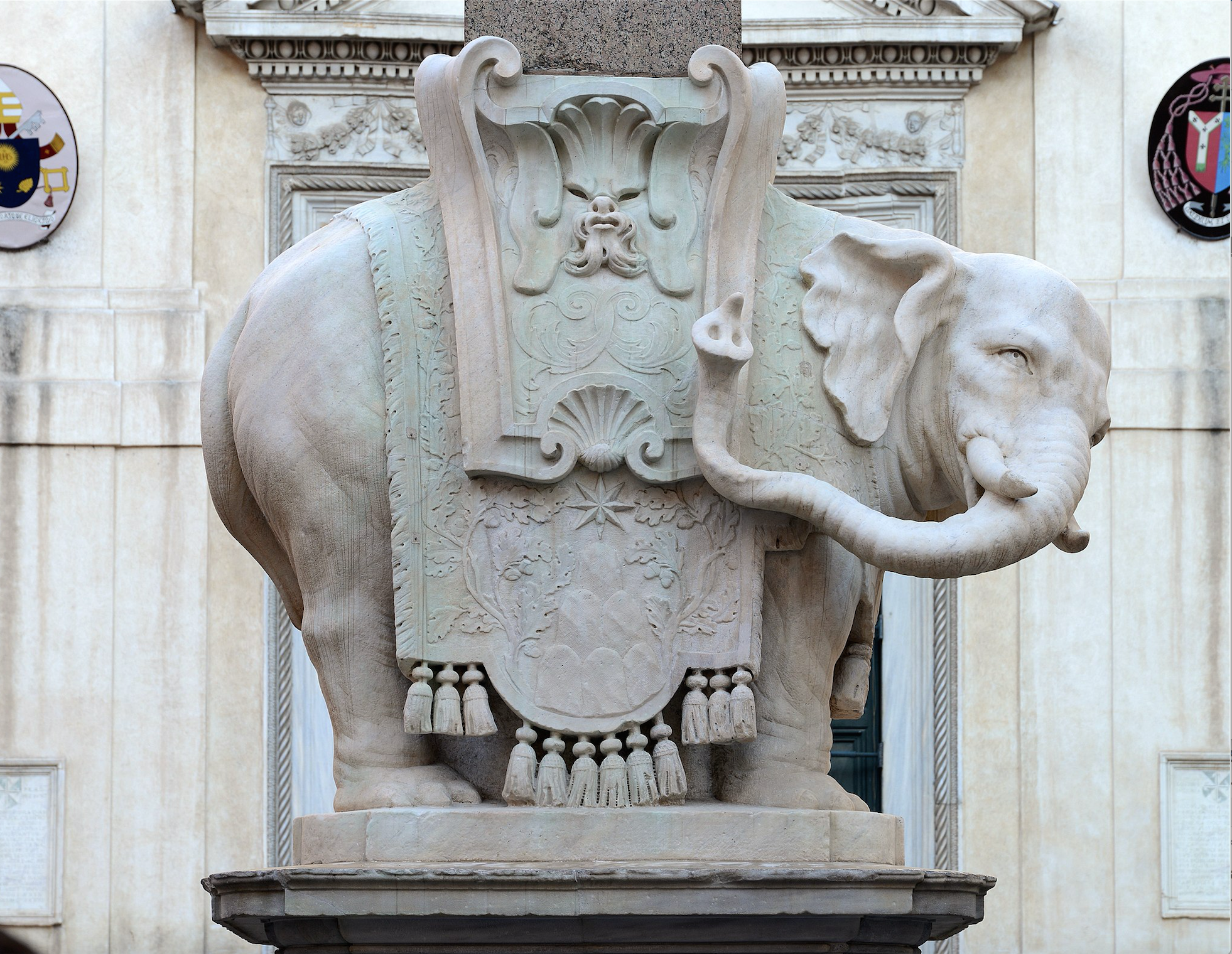 Bernini's Elephant, Santa Maria sopra Minerva   (WikiCommons: Alvesgaspar [CC BY-SA 4.0 (https://creativecommons.org/licenses/by-sa/4.0)])  https://commons.wikimedia.org/wiki/File:Elephant_Bernini_September_2015-1.jpg