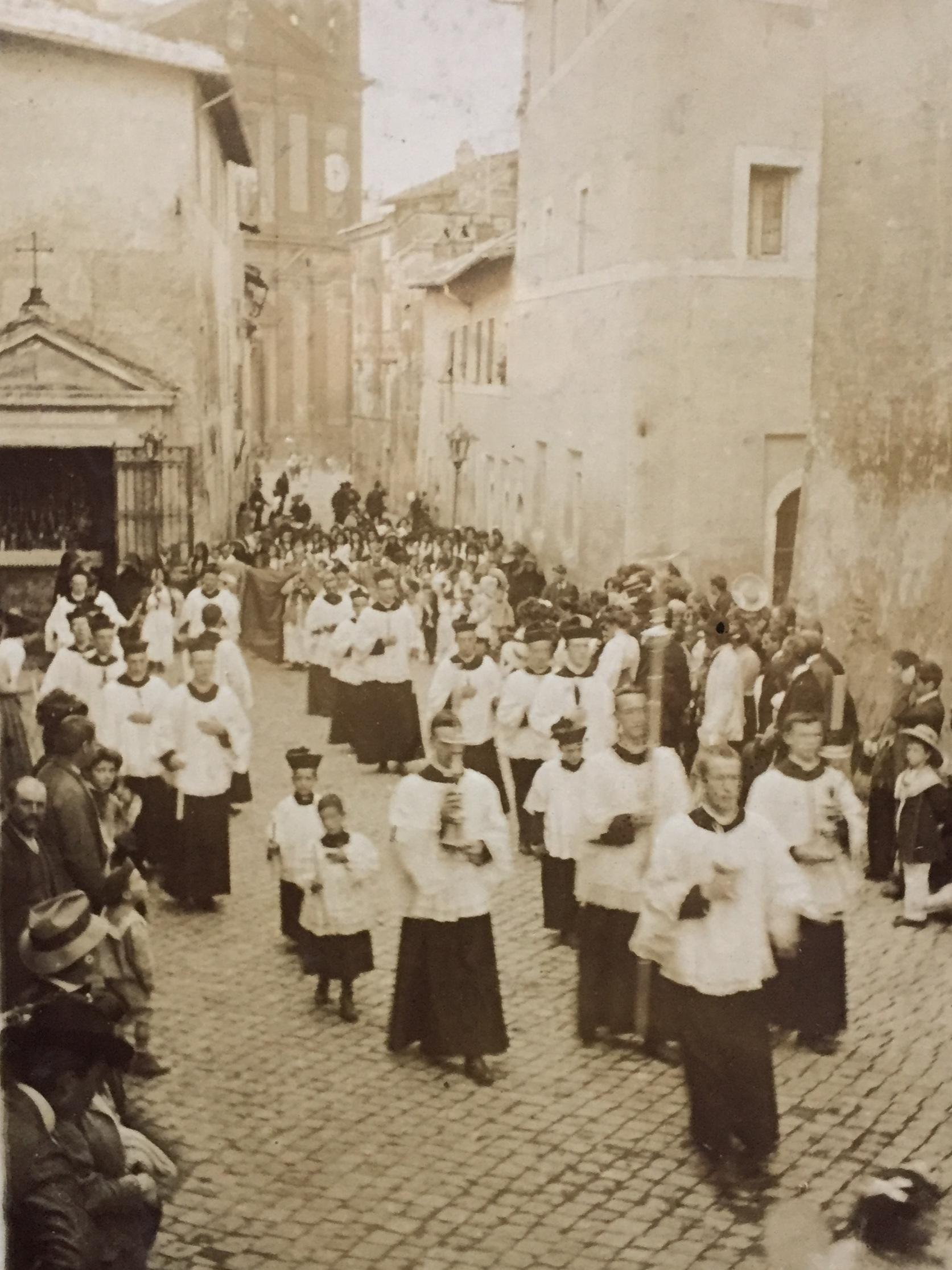 """"""" A fine set of men"""": seminarians of the Venerable English College leading a festal procession, Monte Porzio, 1909"""