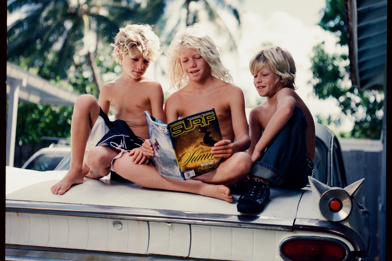 surfer kids cadillac car classic hawaii palm trees portrait photography