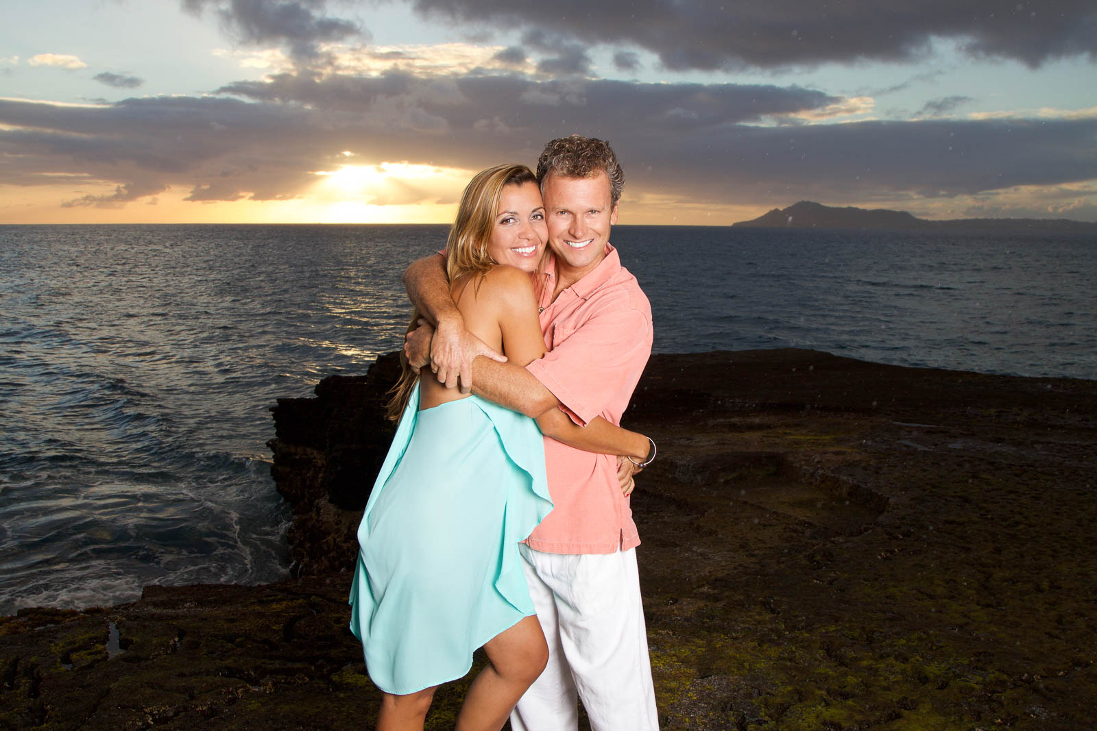 couples engagement portrait sunset oahu hawaii ocean