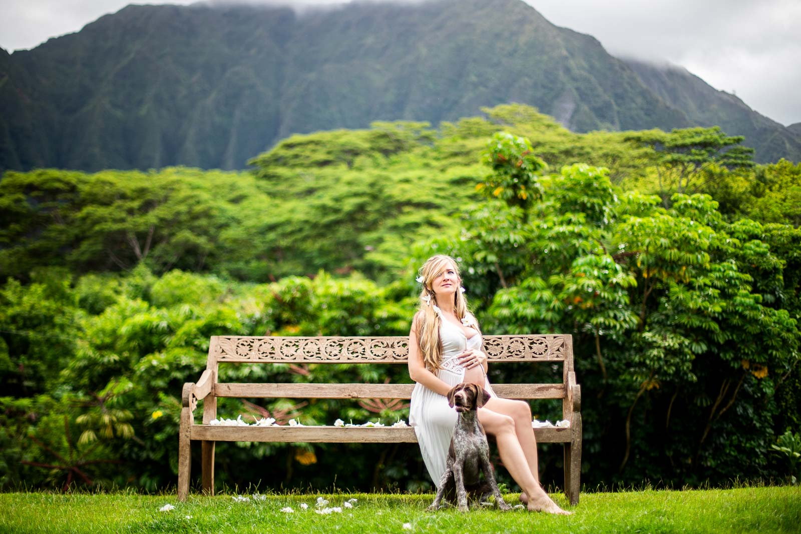 pregnant mother on a bench oahu hawaii portrait