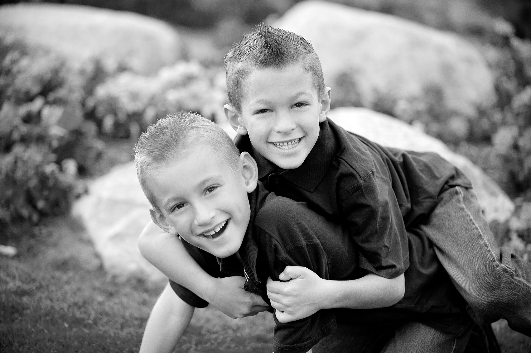 black and white kids boys brothers family portrait