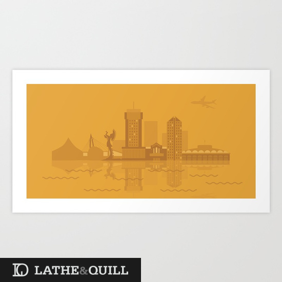ICT Heartland cityscape print in yellow