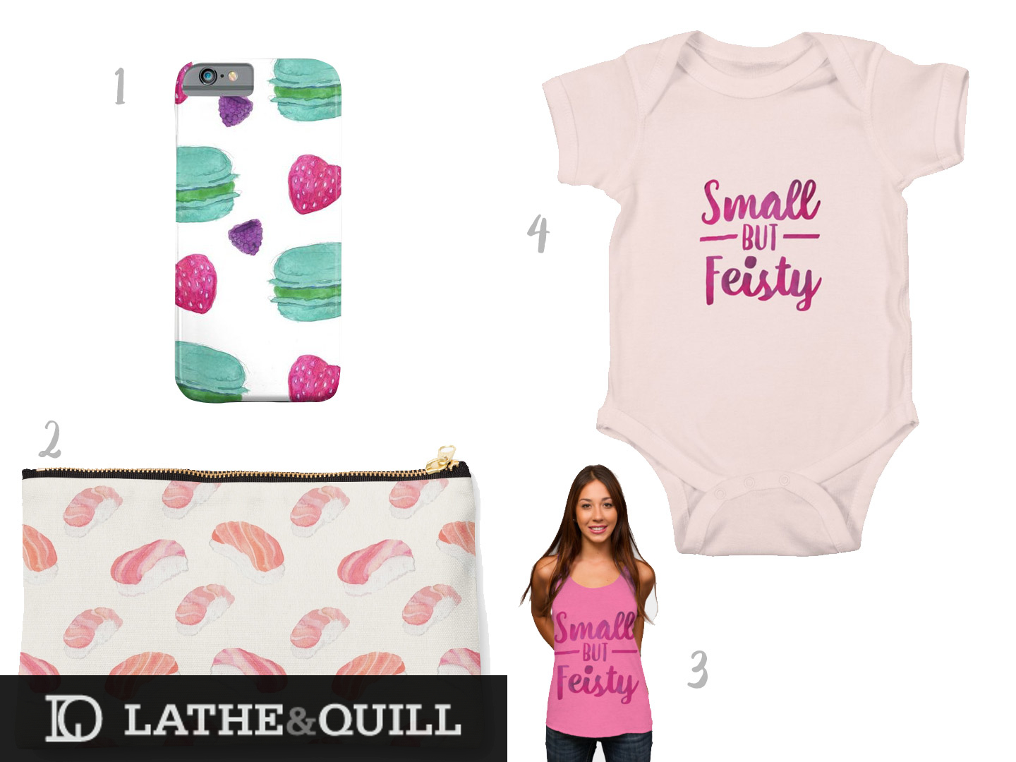 cute pink and feminine clothes and merch at our print on demand stores
