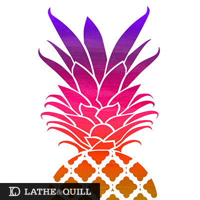 Rainbow pineapple mixed media graphic shape and pattern