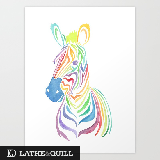 Original Watercolor Painting of Rainbow Zebra in many colors