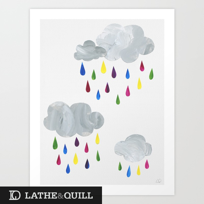Cut out print of rain clouds and raindrops in bright yellow, magenta, blue, purple, and green. Reminds me of my trips to Portland. Always rainy but so cheerful and joy.