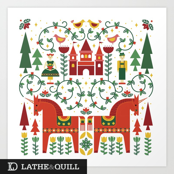 Traditional color palette for this Germanic design of dala horse inspired unicorns florals birds, prince, princess and cute little castle
