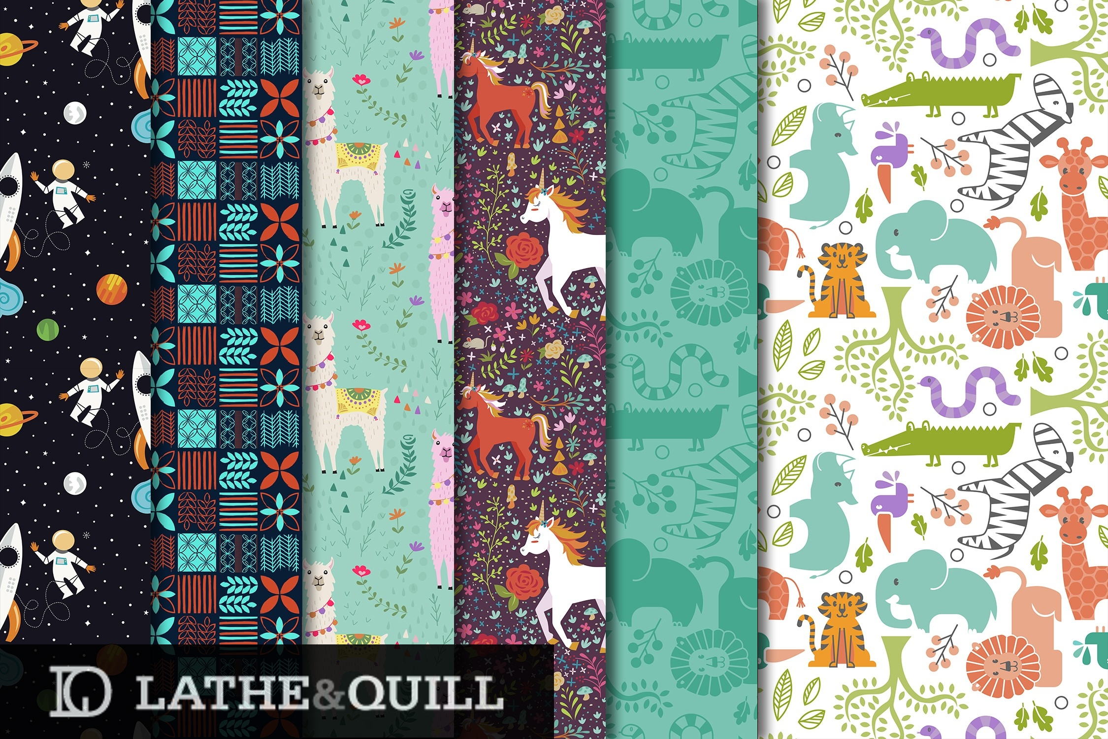 fun patterns for children's room outerspace, llamas, unicorns, and zoo animals what could be better