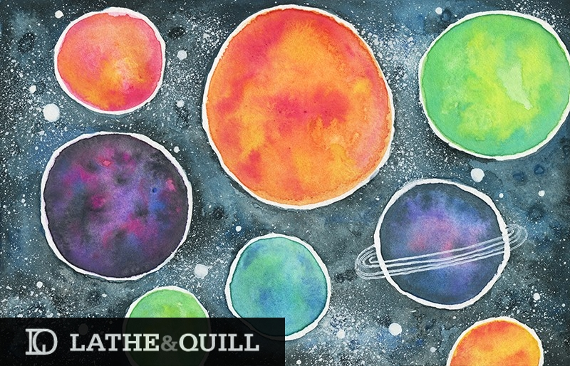 Watercolor Space Illustration for the space explorer at heart
