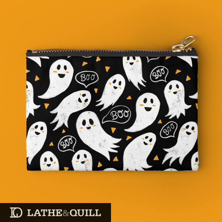 cute pattern for Halloween featuring textured ghosts