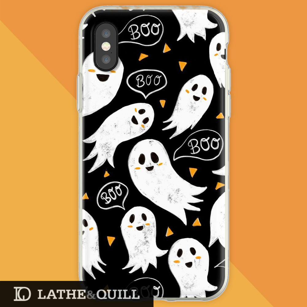happy ghosts in a chalkboard texture phone case