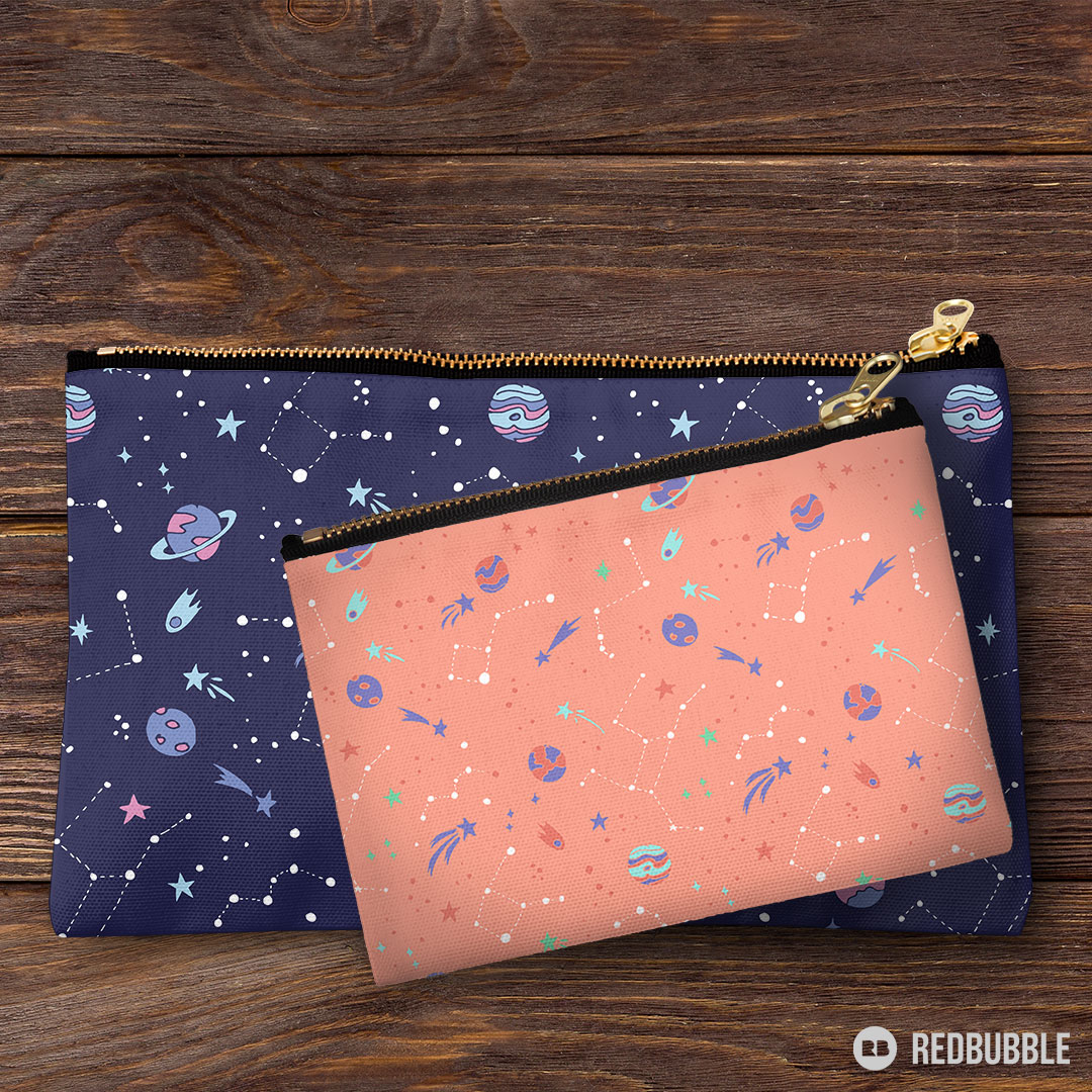 Outer space pattern catch all bags in purple and coral colors - perfect for stem girls who want to reach for the stars