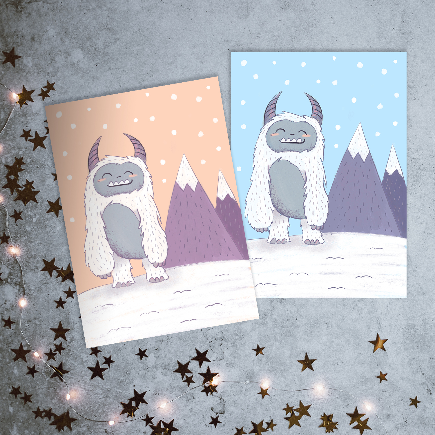 Adorable yeti sitting in the snow near the mountains - so cute!