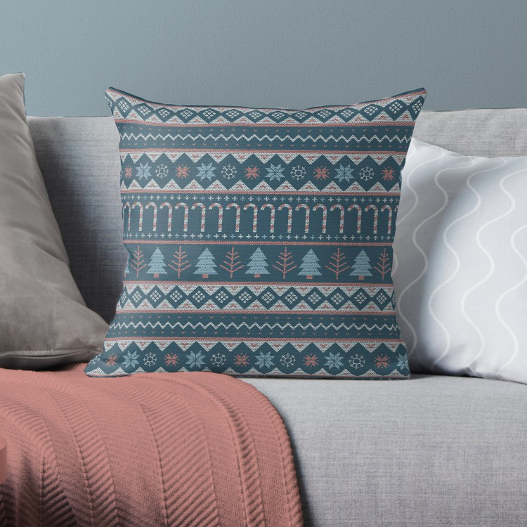 Christmas linear sweater pattern with texture on this festive throw pillow for the holidays.
