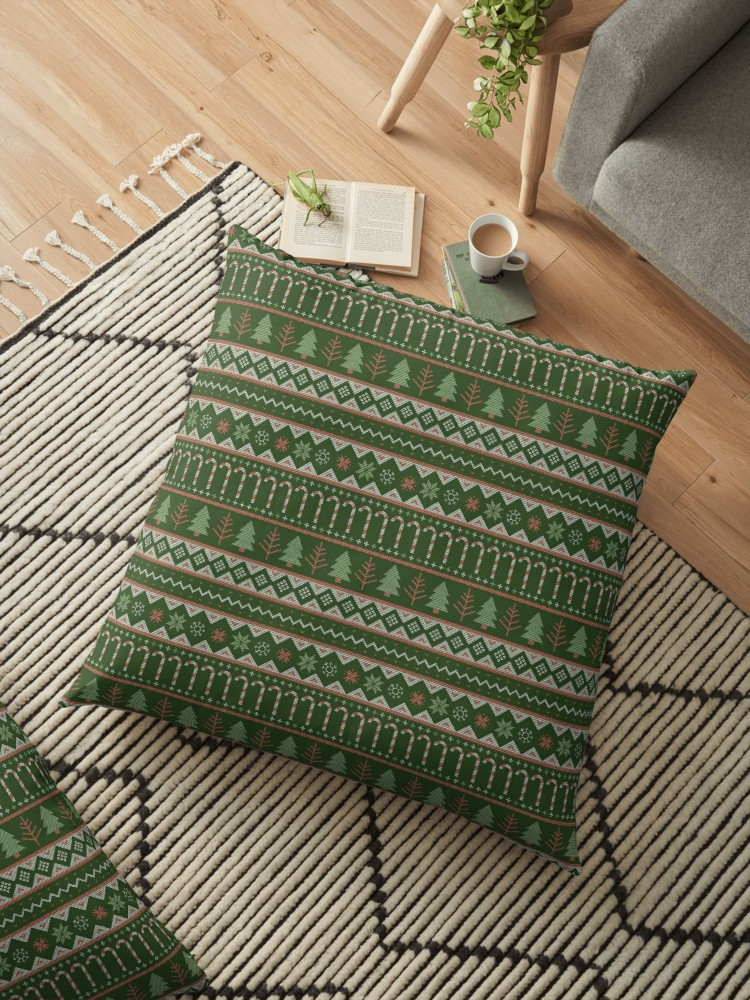 Christmas floor pillow with sweater texture of trees, candy canes and snowflakes in traditional holiday colors - cozy up with some hot cocoa