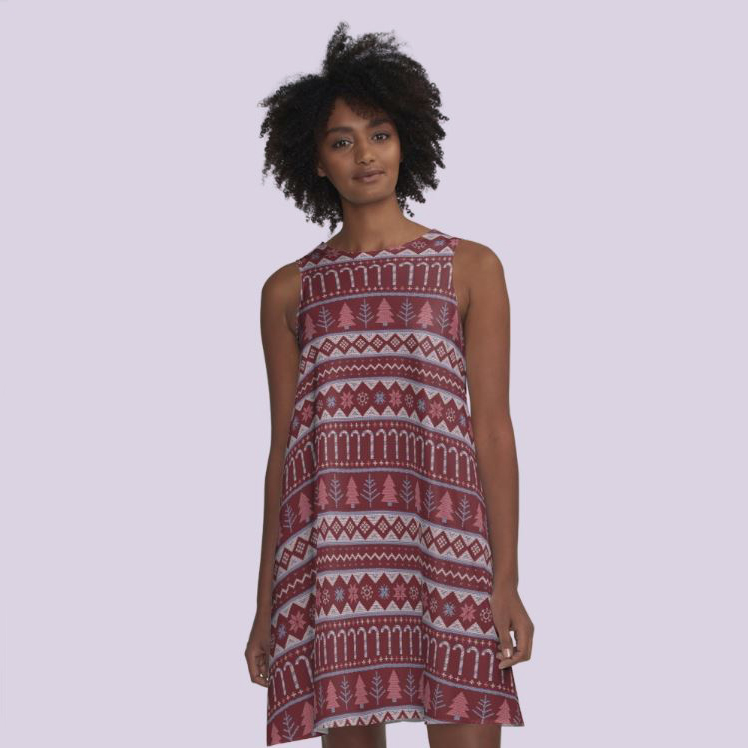 Aline dress in warm hues perfect for a fun and casual holiday party or even for an ugly sweater event