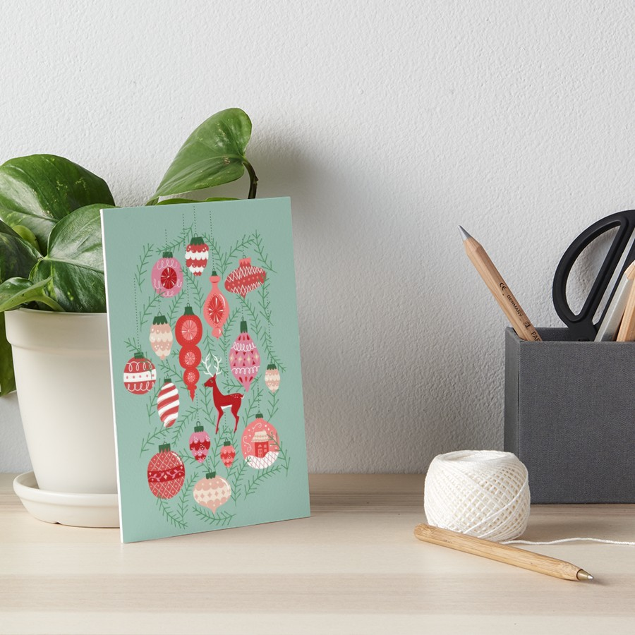 Decorate for the holidays with original Christmas illustration of retro colored mid-century style ornaments on mint with red, coral, and pink ornament accents