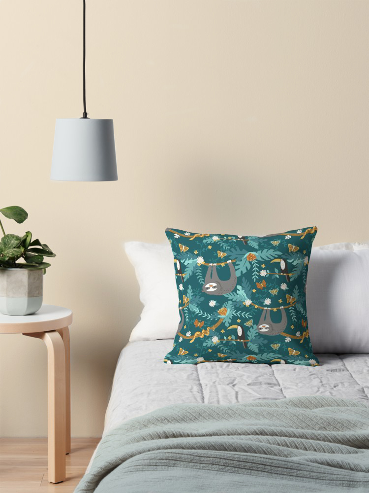 Whimsical pattern of jungle animals on any fabric including pillows and bedding with butterflies, snakes, flowers, and toucans
