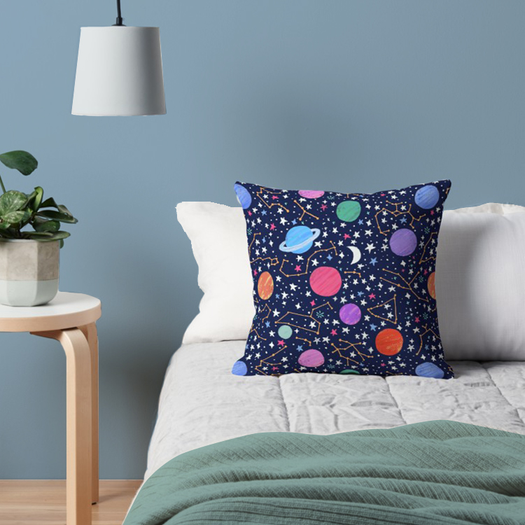 Throw pillow of astrology pattern on midnight blue. Makes fun home decor for zodiac lovers and space nerds