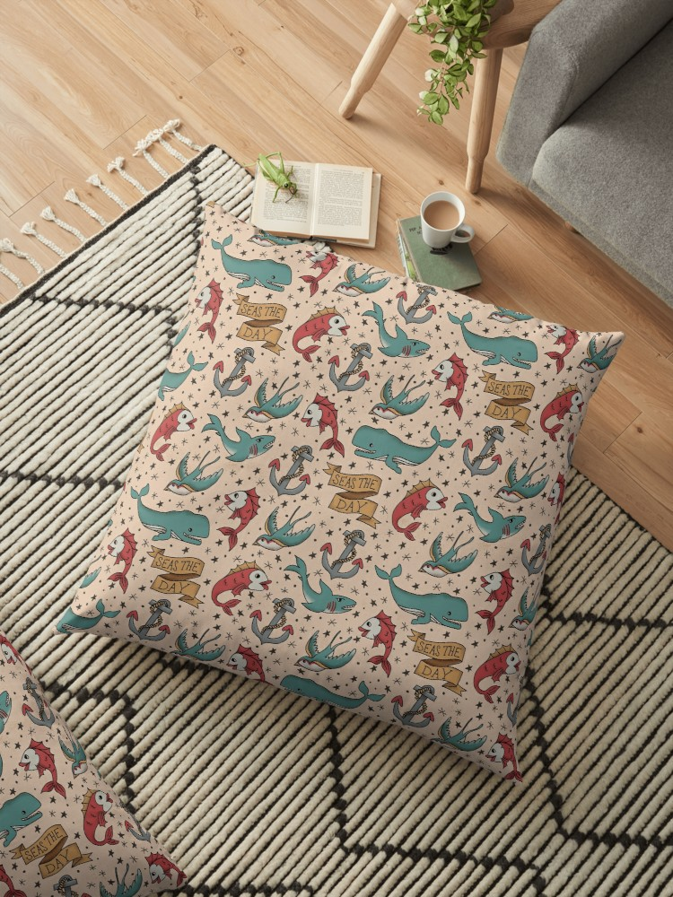 Sailor Jerry tattoo inspired large pillow in worn vintage style