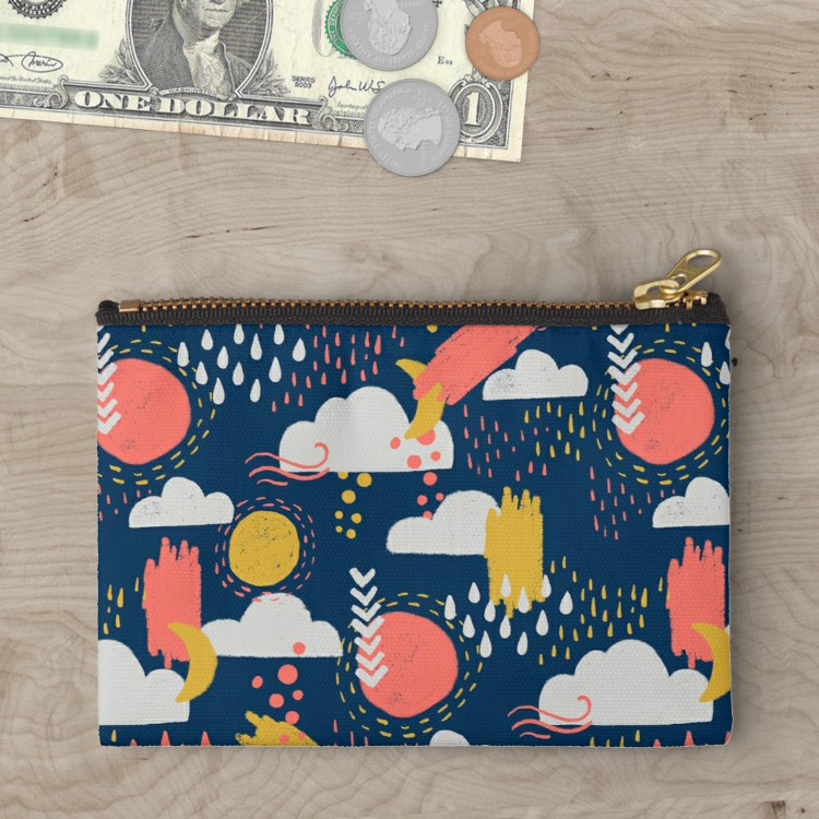 My limited color palette for pattern design in living coral, midnight blue, and goldenrod on a fun zipper bag.