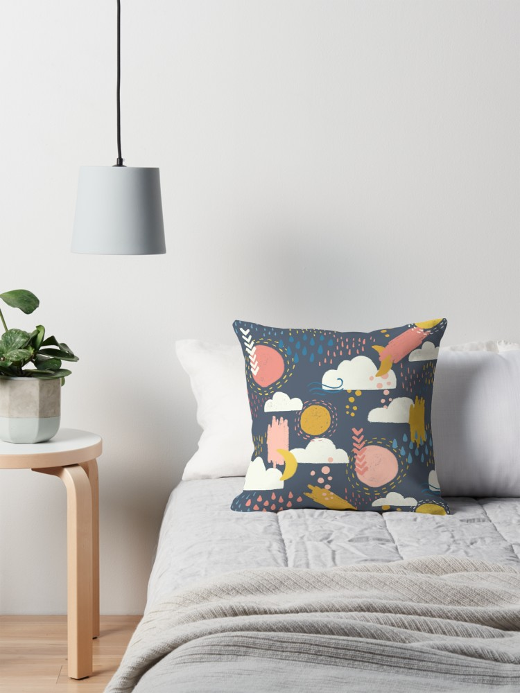 Coral and Blue pink with gold accents makes a fun pillow case that you can toss anywhere