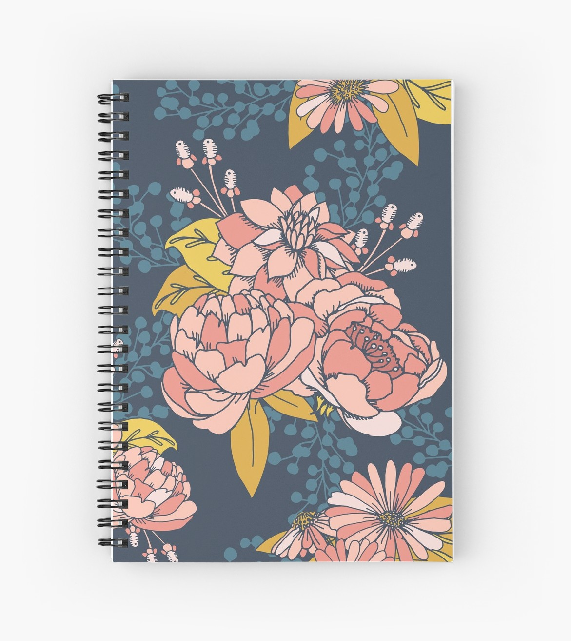 Blue and coral flowers on a notebook - take notes or doodle this lovely book is perfect style for school or home