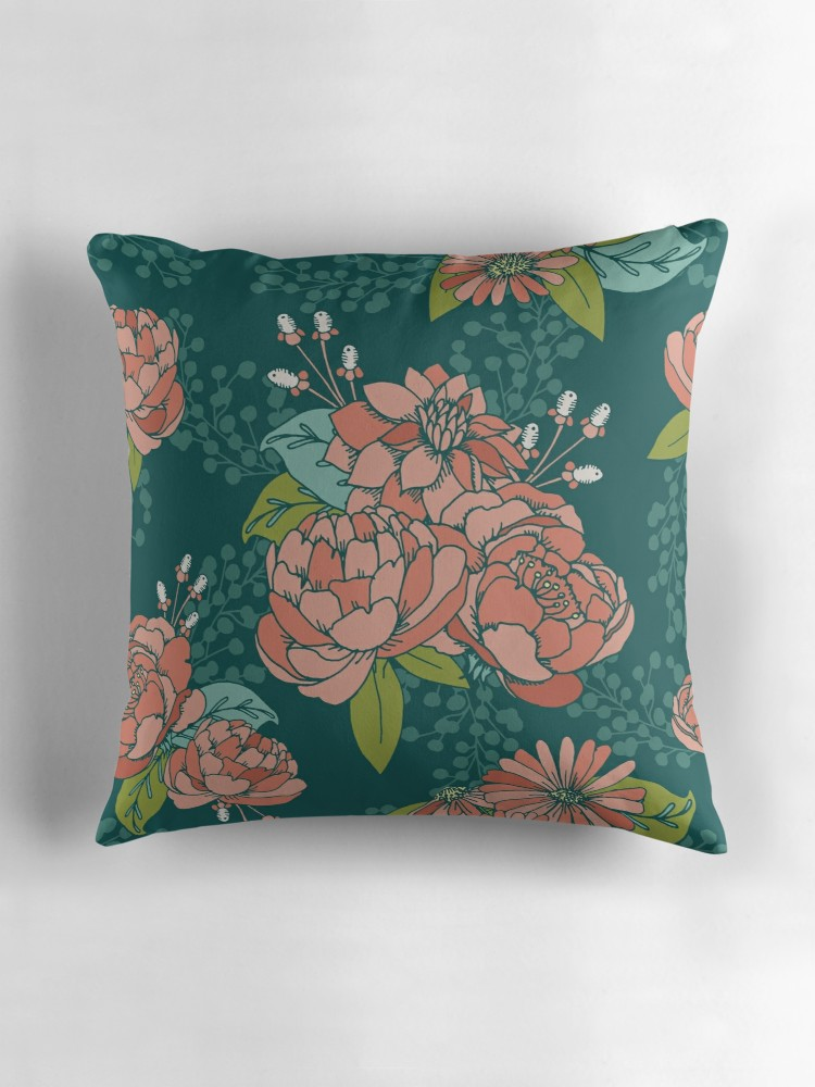 Teal pillow with coral flowers and aqua accents. perfect for a colorful living room throw pillow