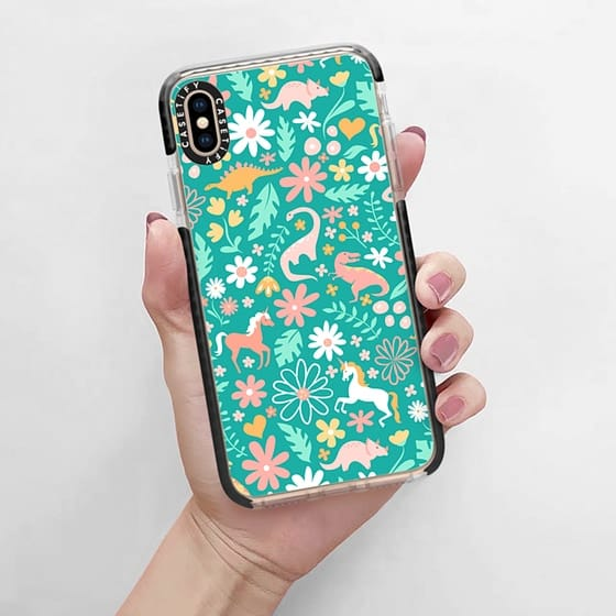 Phone cases just got cuter with this magical pattern of flowers, leaves, unicorn, dinosaur