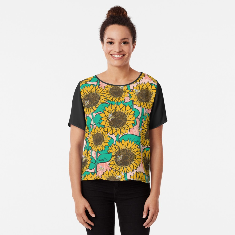 Bright Sunflower pattern with bees buzzing around on a cool graphic shirt