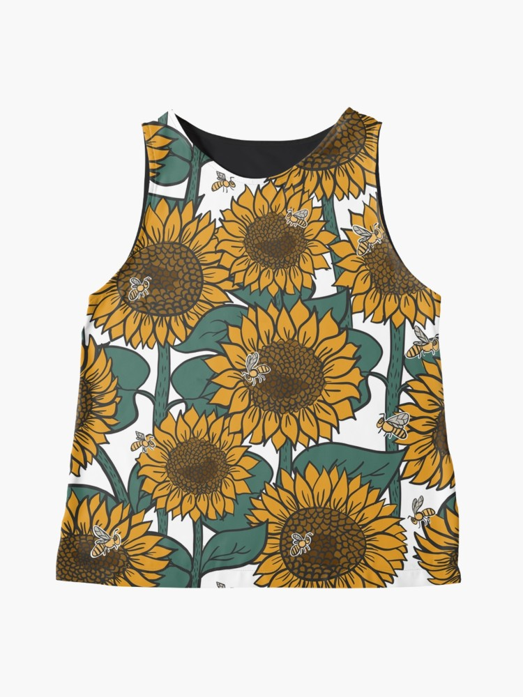 Cute tank with sunflowers and bees - wear your kansas gear with pride