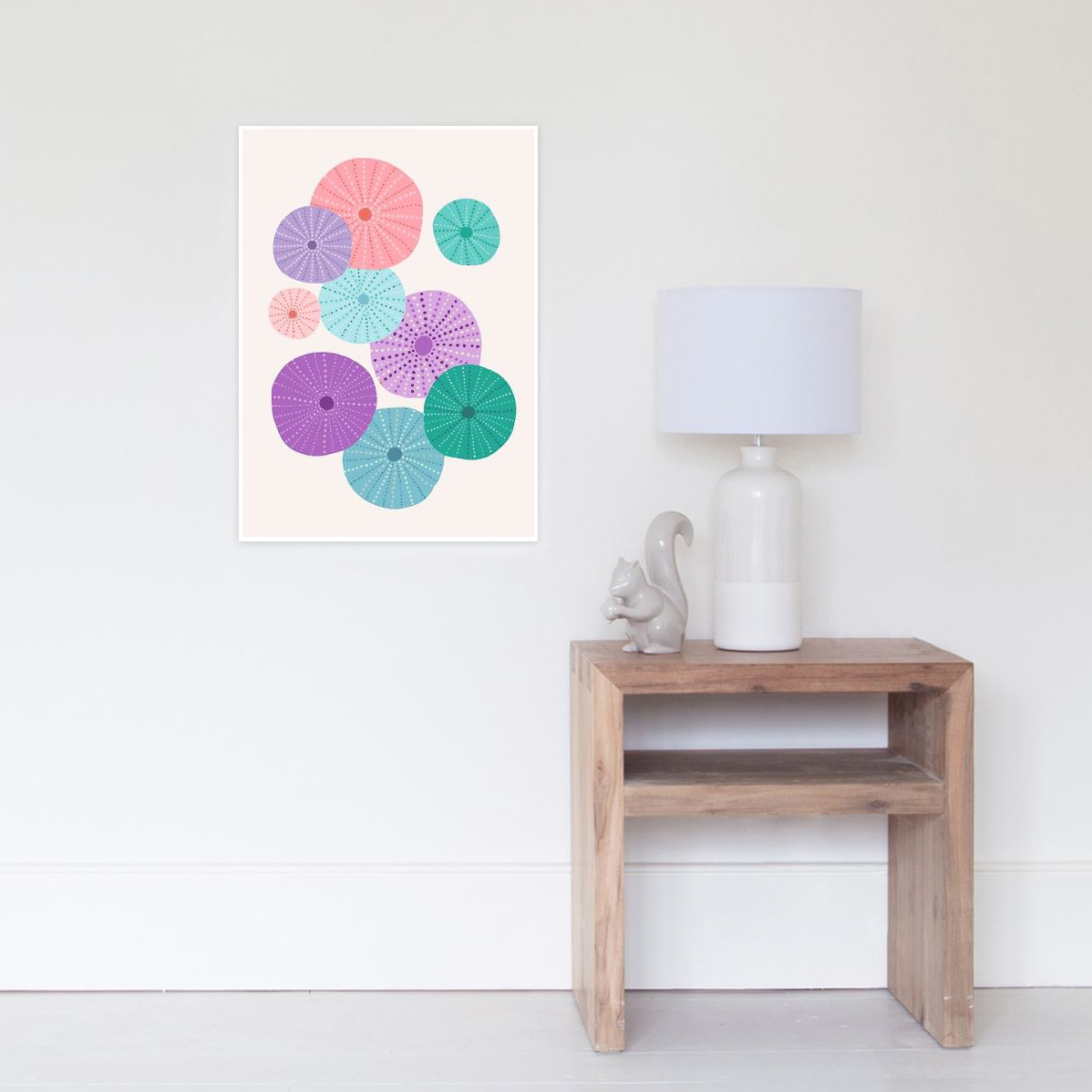 Wall art of my sea urchin pattern creates a fun abstract art for anyone's space
