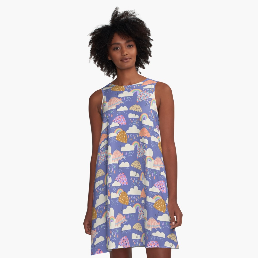 April Spring Showers a-line dress is a cute dress with a whimsical feel