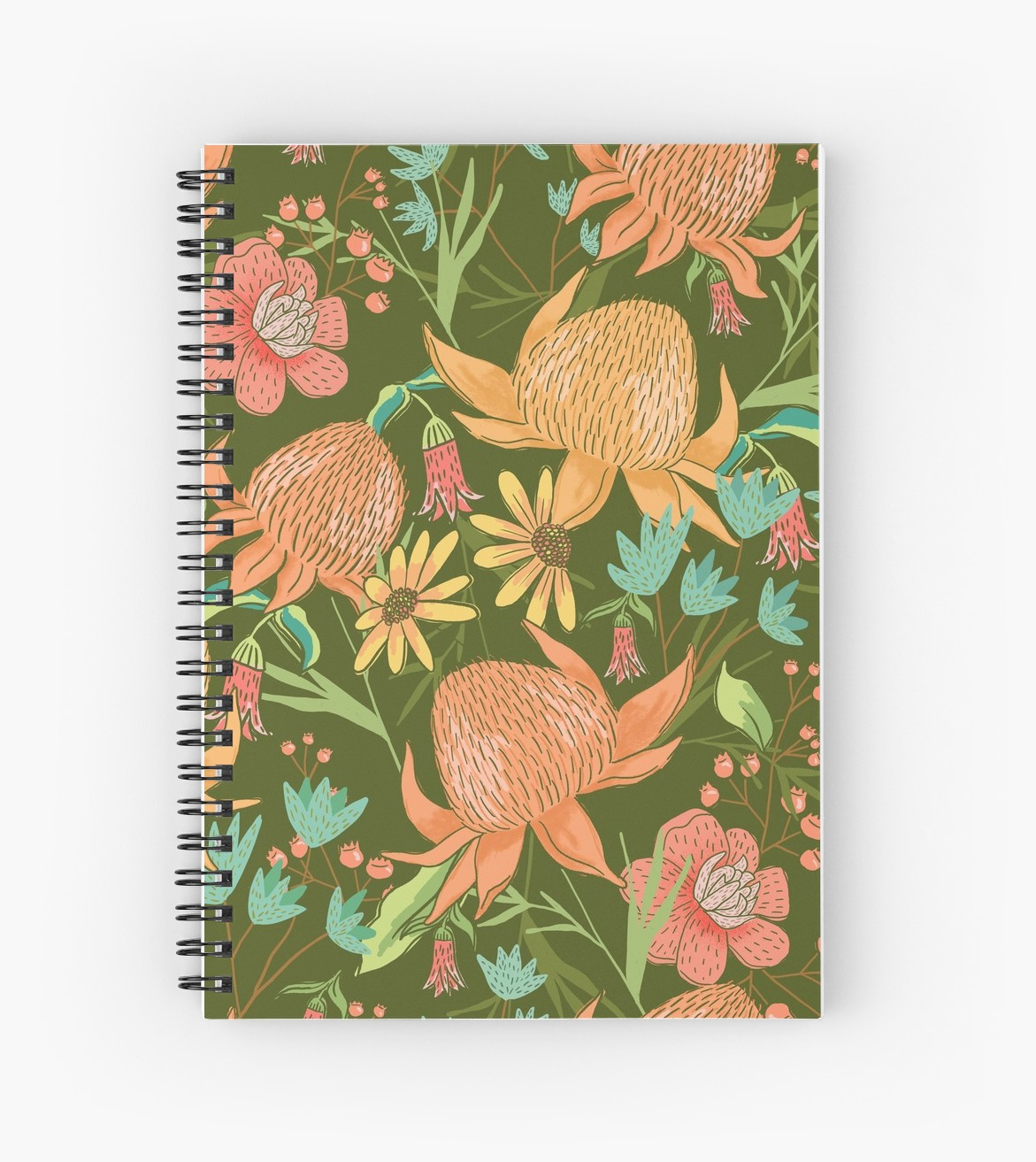 Notebooks are great for bullet journals, drawing, writing, school, keeping yourself organized daily love the pretty flowers all of this patterned notebook from Redbubble