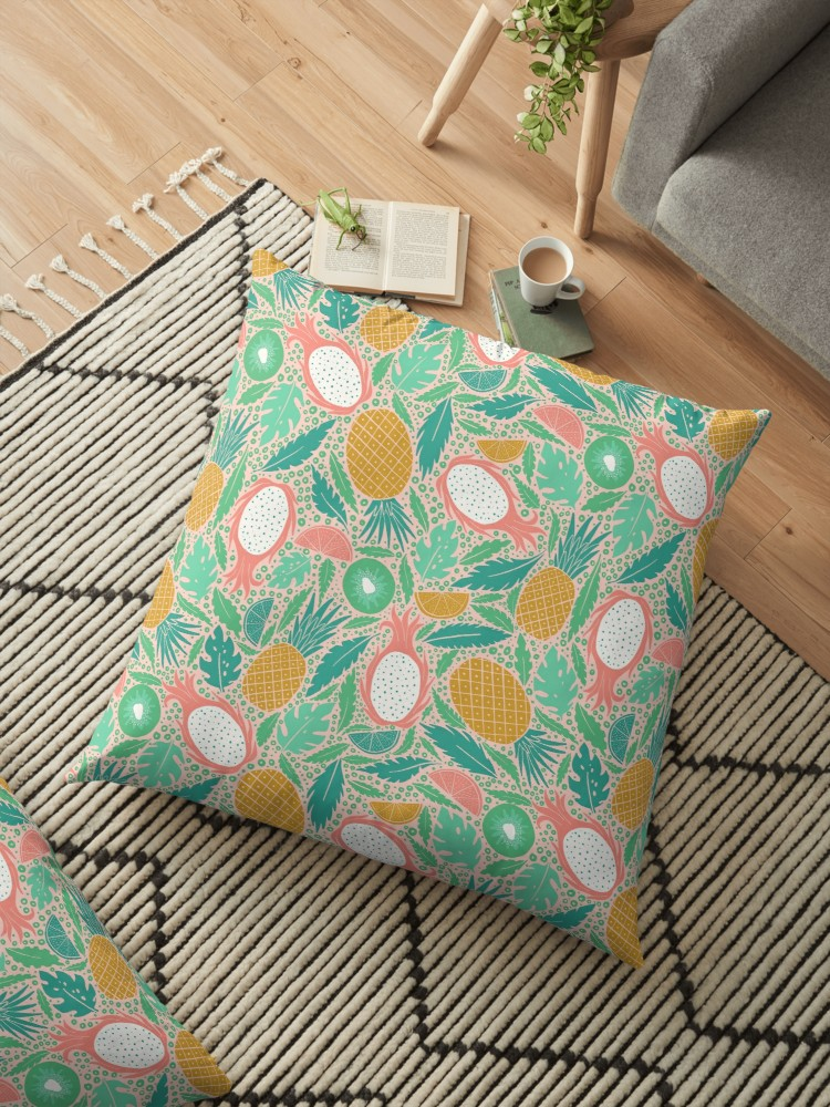 Summer Fruit pillow in blush pink and gold for those chill summer vibes