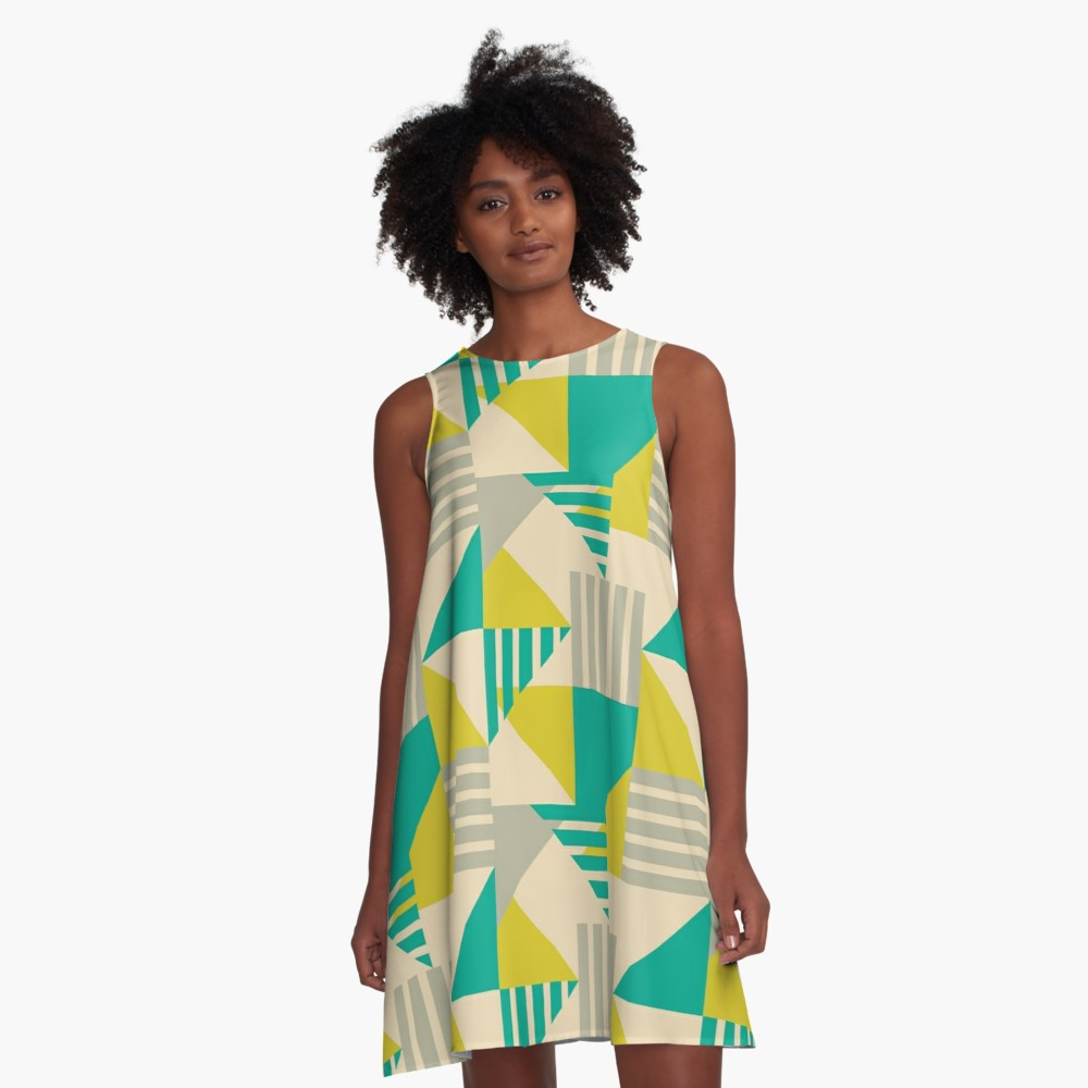 Cute color block a-line dress to wear this summer out at shower or a day out shopping with the girls