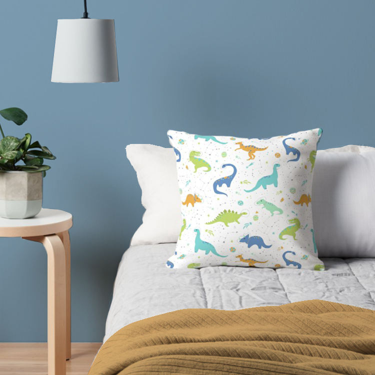 The perfect pillow for my son's bedroom to combine his two favorite things: dinosaurs in outerspace with aqua, cobalt, chartreuse, and pumpkin colored stegosaurus, tyrannosaurus rex, hardrosaur, triceratops, and brontosaurus