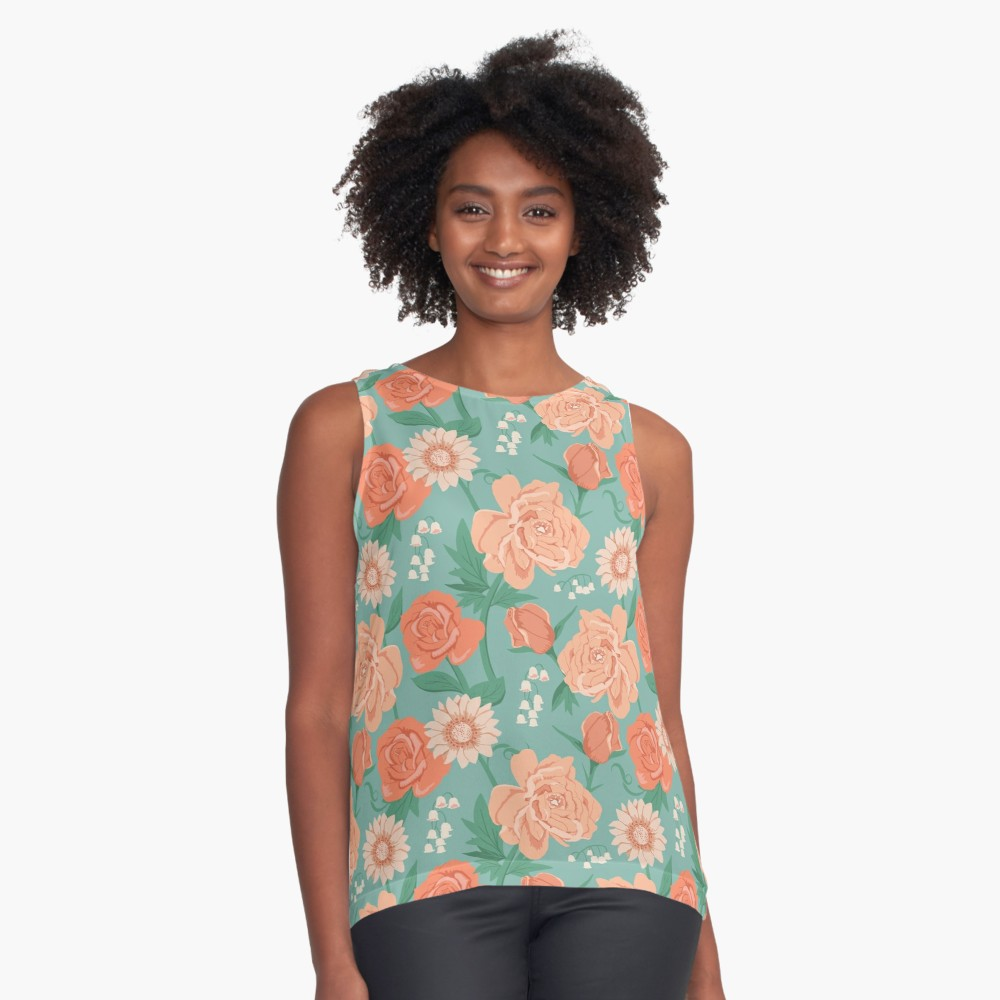 Lovely flowery top of peonies, roses, daisies, and lily of the valley in shades of pink on a vintage blue