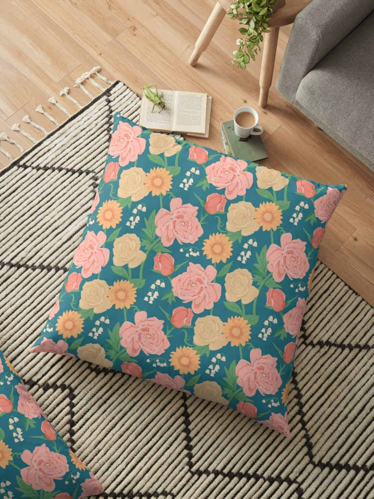 Large floral pillow is the best for lounging on and reading your favorite Jane Austen novel