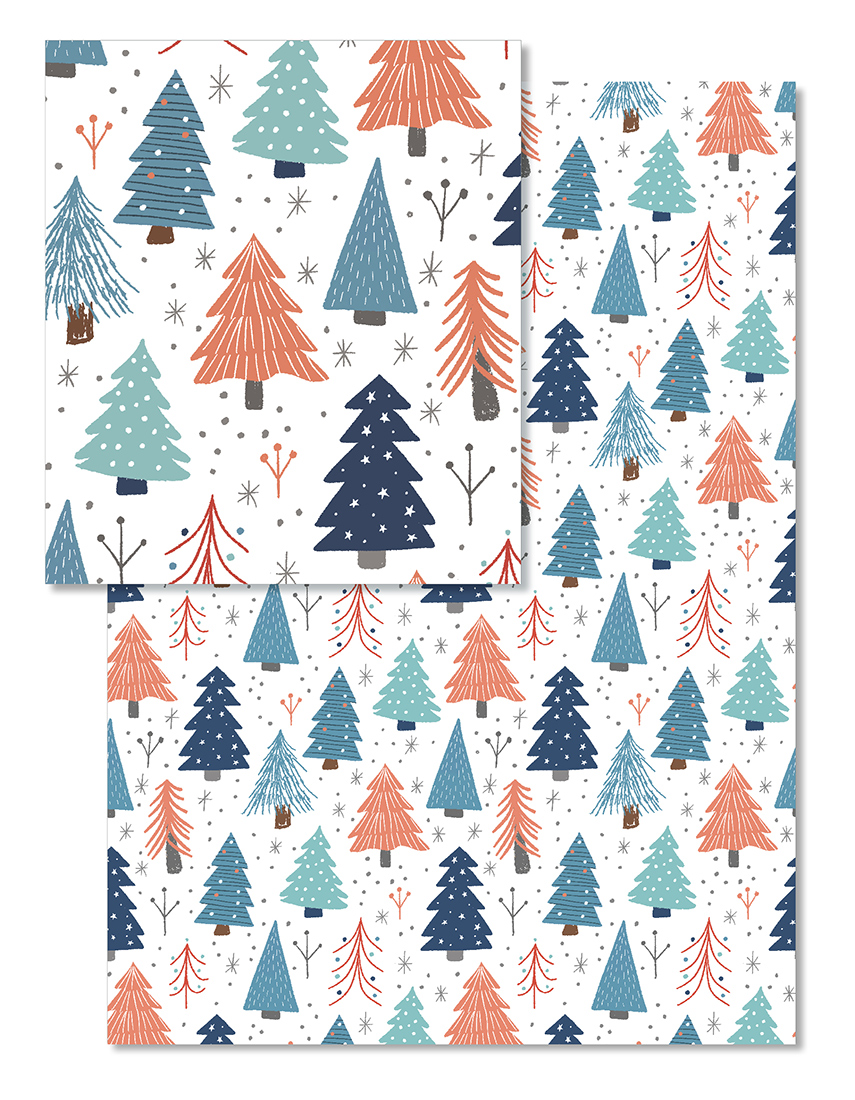 Whimsical and retro Christmas tree wrapping paper can be found on Minted.